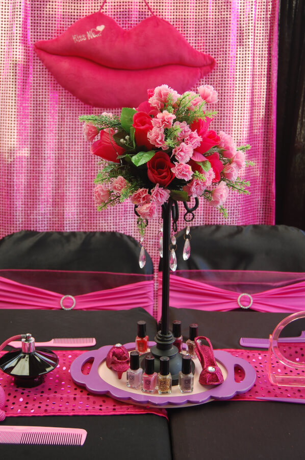 Spa party table setting - Wish Upon a Party